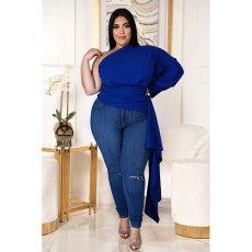 Plus Size 5XL Sexy Solid One Shouder Irregular Tops ASL-7010