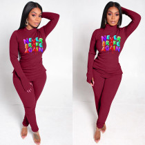 Casual Letter Print Long Sleeve 2 Piece Pants Set AWN-5122