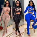 Sexy Long Sleeve Hollow Out Two Piece Pants Set CHY-1307