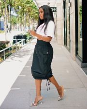 Black Drawstring Long Skirt OD-8413