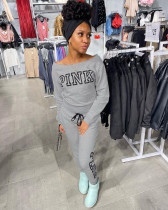 PINK Letter Print Casual Solid Color Long Sleeve Sweatshirts And Pants Two Piece Set TCF-054