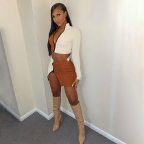 Fashion Splice Long Sleeve Mini Skirts Two Piece Set ANNF-6040