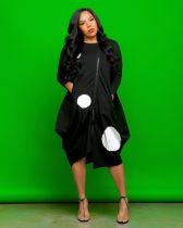 Fashion Casual Long Sleeve Zipper Polka Dot Midi Dress ZLF-829