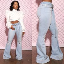 Denim Ripped Belted Flared Jeans LSD-9054