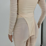 Sexy Mesh Ruched Halter Top And Pants Two Piece Sets YH-5206