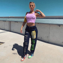 Multicolor Printed High Waist All-match Casual Pants SZF-6077