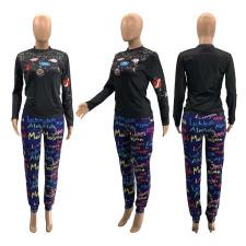 Black Long Sleeve Round Neck Print Slim T-shirt SZF-6095
