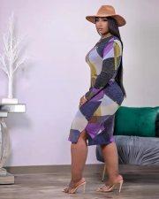 Sexy Printed Long Sleeve Split Sashes Midi Dress TK-6147
