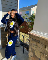 Flower Print Hoodie Sweatpants Two Piece Sets WSM-5218