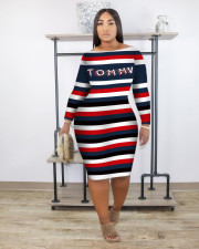 Plus Size 4XL Striped Letter Print Midi Dress OM-1199
