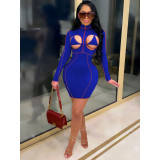 Plus Size Sexy Hollow Out Long Sleeve Slim Mini Dress YIY-5258