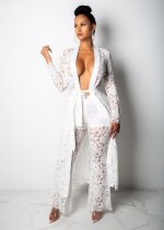 Sexy Lace Hollow Out Sahes Long Cloak+Pants 2 Piece Sets OSM-3236