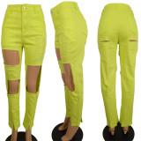 Plus Size 4XL Denim Ripped Hole Jeans Pants LSL-6391