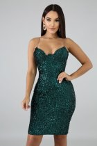 Sexy Sequined Spaghetti Strap Split Club Dress LX-8916