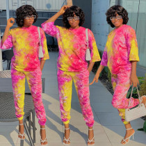 Tie Dye Print 3/4 Sleeves Two Piece Pants Set BGN-143