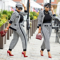 Fashion Casual Long Sleeve Houndstooth Two Piece Set OLYF-6031