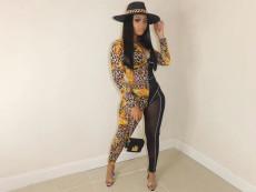 Sexy Nightclub Mesh Leopard Print Jumpsuit QSF-5023