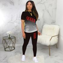 QUEEN Letter Print Gradient T Shirt Pants 2 Piece Sets BLI-2232