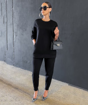 Casual Solid O Neck Sweatshirt Two Piece Pants Set AIL-149