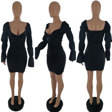 Black Fashion Sexy Puff Sleeve Ruched Dress ZLF-830