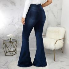 Plus Size Denim High Waist Stretch Flared Jeans HSF-2402