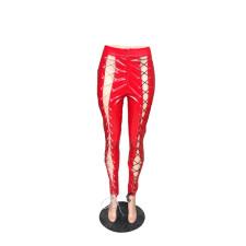 Red Sexy Bandage PU Leather Pants LLF-8837