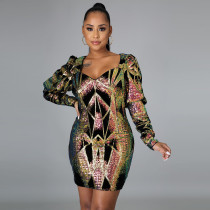 Sexy Sequined V Neck Long Sleeve Mini Party Dress CYA-8842