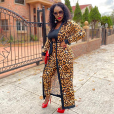 Leopard Print Full Sleeve Sashes Long Cloak Coat YD-8355