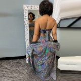 Plus Size Sequined Tube Top+Long Cloak+Pants 3 Piece Sets CYA-8853
