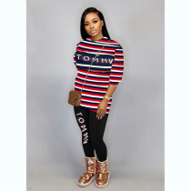 Casual Striped Letter Print Two Piece Pants Set SHA-6221