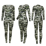 Camouflage Print Long Sleeve Two Piece Sets YD-8354