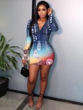 Printed Lotus Leaf Sleeve Fashion Bodycon Dress RUF-8172