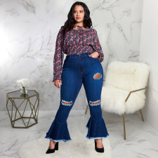 Plus Size 5XL Denim Ripped Hole Flared Jeans HSF-2395