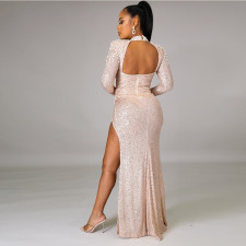 Sexy Sequined Beading Backless High Split Evening Dress CYA-8846
