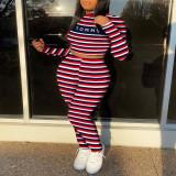 Plus Size 4XL Striped Letter Two Piece Pants Set SHA-6220