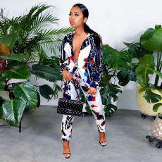Printed Fashion Casual Long Sleeve Two Piece Set SZF-6104