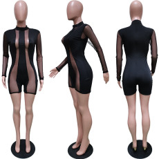 Sexy Mesh Patchwork Long Sleeve Rompers BGN-145