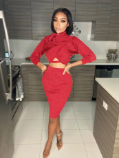 Sexy Solid Long Sleeve Crop Top Skirt 2 Piece Sets LS-0337