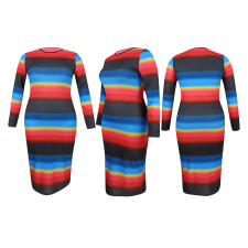 Plus Size Rainbow Striped Full Sleeve Long Dress YD-8357
