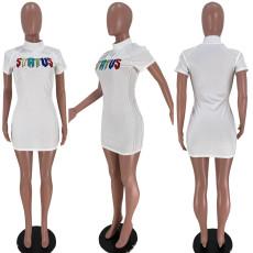 White Short Sleeve Letter Embroidery Mini Dress XSF-6028