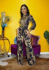 Chain Print Long Sleeve High Waist Jumpsuit XMY-9292