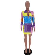 Sexy Long Sleeve Print Slim Mini Dress XSF-6029