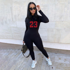 Casual Number Print Long Sleeve Tight Jumpsuit YIBF-6037