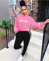 Casual Sports PINK Letter Print Long Sleeve Pants Suit SIF-0043