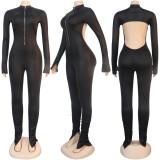 Sexy Blackless Long Sleeve Zipper Jumpsuits NY-8949