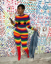 Colorful Striped Long Sleeve Two Piece Pants Set DAI-8326