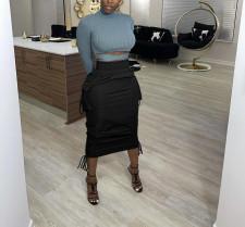 Casual Solid Pocket Lace Up Midi Skirt NY-2078