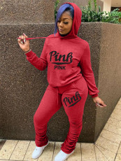 Pink Letter Print Hoodie Stacked Pants Two Piece Sets MOY-8307