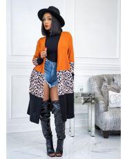 Leopard Camo Print Full Sleeve Long Coat MTY-6381