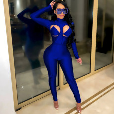 Sexy Long Sleeve Hollow Out Bodycon 2 Piece Pant Sets DAI-8325